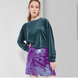Wild Fable Purple Sequined Mini Skirt